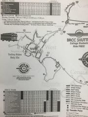 If you can read this you're too close: A detail from a printed version of a map available online showing the 9 bus routes offered in the area.