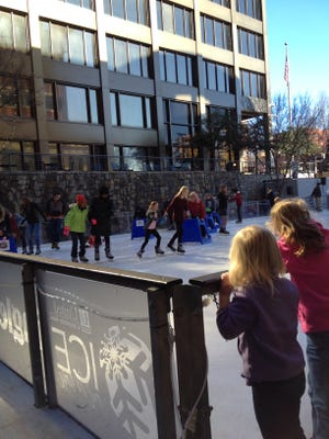 Ice scooters/walkers and skate sleds are offered at Ice on Main for those who find skating challenging