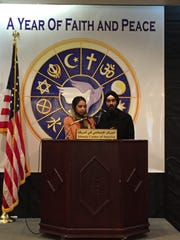 Sikh leaders Harnek Singh (left) and Rasna Kaur, of Troy, with Sikh Gurdwara or Rochester Hills, speak at the Islamic Center of America in Dearborn.