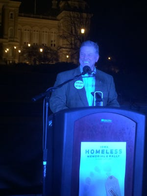 Iowa State Rep. Scott Ourth speaks at the seventh annual Iowa Homeless Memorial and Rally on Monday, Dec. 21, 2015.