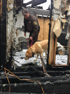 St. Clair County Sheriff Lt. Scott Braun walks Gunner through a burned out house in Port Huron Township Wednesday.
