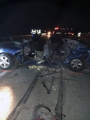 Four teens from Brownsburg were killed in this car Wednesday night, Dec. 30, 2015, on Ind. 37 in Morgan County.