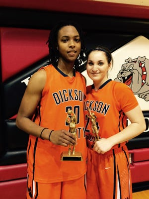 Dickson County's Lea Lea Carter and Emily Beard were the Lady Cougars All Tournament players in the Above the Rim tourney at Hickman Co.