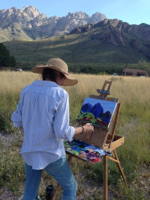 Meg Freyermuth during Artist in Residence Program September 2015 sponsored by Friends of the Organ Mountains-Desert Peaks and the Bureau of Land Management.
