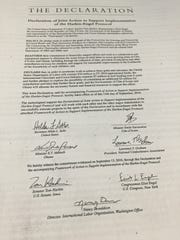 The front page of the Declaration of Joint Action to SUpport Implementation of the Harkin-Engel Protocol