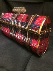Judith Leiber bag in plaid available at Jody's.