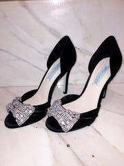 Satin peep toe evening shoe by Betsy Johnson available
