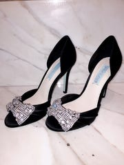 Satin peep toe evening shoe by Betsy Johnson available at Shoe La La.