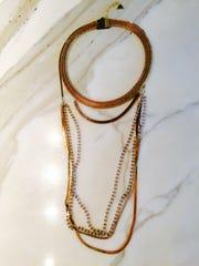 Gold layered necklaces available at Shoe La La in La