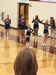 Alayna Scallion will sometimes get on the sideline with the Crockett Middle cheerleading squad to cheer on the Cavaliers.