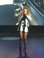 Ryn Weaver performs at the Detroit auto show on Monday,