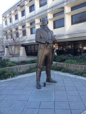 Revolutionary War hero Nathanael Greene has a statue in downtown Greenville across from the Peace Center