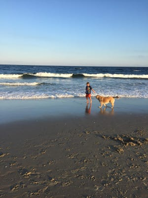 Christine Coppa's son Jack walks on the beach with their dog Lucy.