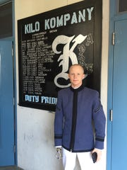 Cameron Massengale, in front of his Kilo Company board, during parents weekend in Oct. 2015.