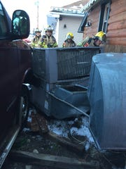 A medical issue caused a Mason man to crash a commercial van into a utility structure outside Darb's Tavern & Eatery this morning, fire officials said.