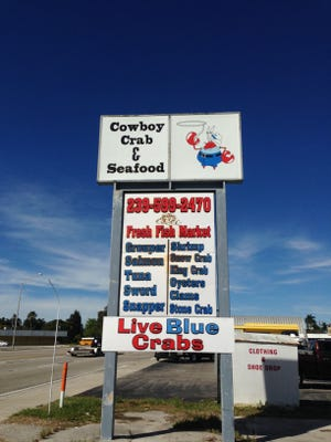 Just over the Edison bridge in North Fort Myers is Cowboy Crab & Seafood, selling fresh fish, blue crabs and garlic crabs.