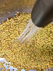 Wash lentils in colander before cooking.