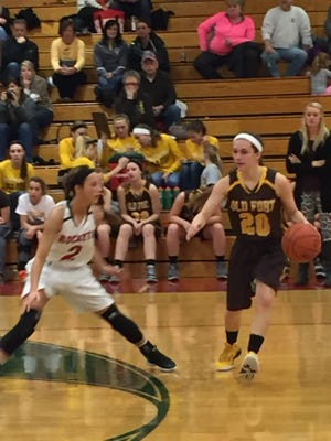 Old Fort's Mackenzie Ward handles the basketball last season.