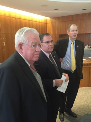 From left, Democratic state Sens. John Arthur Smith of Deming, Michael Padilla of Albuquerque and Peter Wirth of Santa Fe say the House of Representatives approved a series of crime bills without any plan to pay for them. Smith has introduced a generic bill to provide $3 million to $5 million to pay for any of these crime measures that the Senate may approve.