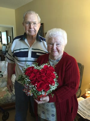 .Al and Jackie Cave of Titusville were selected to win a bouqet of flowers as part of a Valentine's contest by a Titusville floral shop.