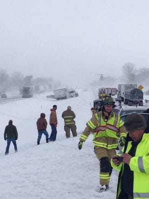 More than 60 vehicles were involved in the pileup Saturday morning on I-78 in Bethel Township, Pennsylvania.