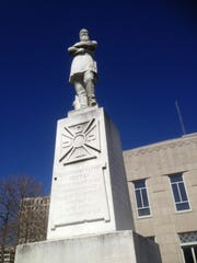 A statue of Confederate Gen. Alfred Mouton stands at