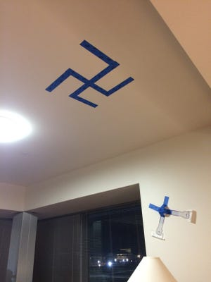 A swastika found taped to the ceiling of Sara Rosen's Rutgers University apartment.