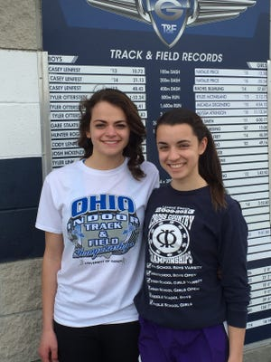 Granville junior Natalie Price (left) just won a Division I state indoor title in the 400 meters, while senior Micaela DeGenero (right) won the 1,600 meters.