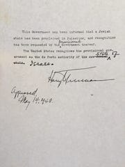 Copy of a letter signed by Harry Truman on May 14, 1948 acknowledging that the U.S. government recognizes the new State of Israel.