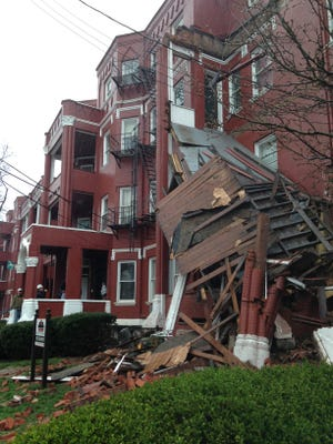 A three-story porch that's part of a Clifton apartment building in the 3400 block of Middleton Avenue spontaneously collapsed Sunday. No injuries were reported.
