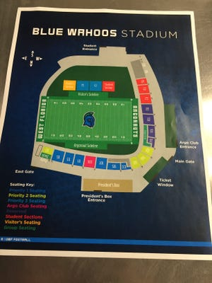 A look at how Blue Wahoos Stadium will be configured for priority seating at UWF football games for 2016 inaugural season.