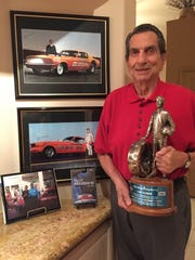 Drag racing legend Gas Ronda, photographed at his Palm Desert home on March 14, 2016, will be inducted into the International Drag Racing Hall of Fame on Thursday. He's holding the National Hot Rod Association's Lifetime Achievement Award, known as the 'Wally' - named for Wally Parks, founder of the NHRA.