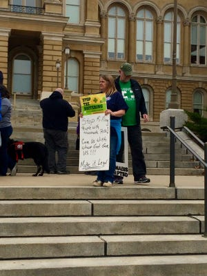 Iowans 4 Medical Cannabis held a rally outside of the Iowa Capitol on Tuesday encouraging legislators to pass a comprehensive medical marijuana program.