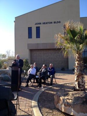 John Heaton speaks at the ceremony dedicating the NCKRI building in his honor.