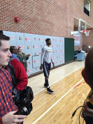 Paul George stands before taking a 3-pointer at the end of the Indiana Pacers' practice Friday.