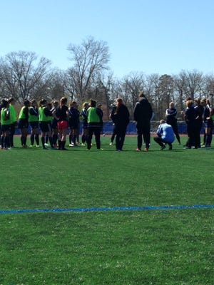 Sky Blue talking at the end of training on Wednesday at GCU