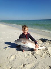 Lucca Hamel caught this 43-inch bull redfish recently near Fort Pickens.