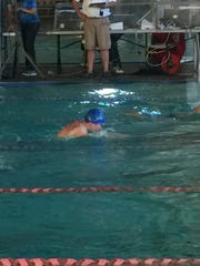 Ruidoso's Joseph Salcido swimming the breaststroke at the state meet in Albuquerque.