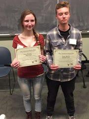 Vermont Brain Bee winner Eliza Kissam, Burlington Tech Center student, and second place finisher Ryan Martin, also a junior at Burlington Tech Center.