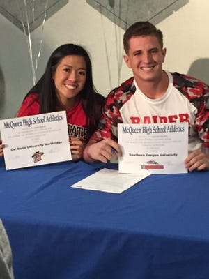 Alice Duan and Collin Crown sign letters of intent Wednesday at McQueen.