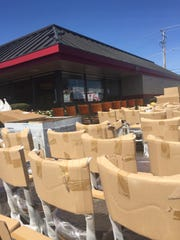 New chairs sit outside of Denny's at 1199 Loucks Road,