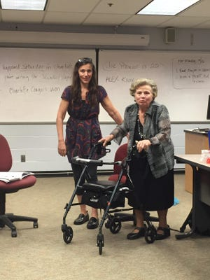Loretta Napolitano and her mother, Marie Soriano, in a classroom where Napolitano teaches. Taking a cue from Take Your Child to Work Day, Napolitano brought her mother to work with her.