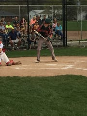 Oak Harbor's Aric McAtee draws a walk Monday at Port Clinton. McAtee scored the only run in the game.