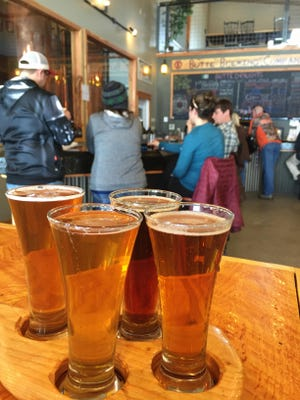 A flight of beer at the Butte Brewing Co., which has a two-story tap room.
