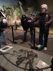 """Museum director Otis Kline and bible college students gather around a struthiomimus altus nicknamed """"Margie"""" and cast as it was found in the Hell Creek formation near Glendive in 1997. The 16-foot omnivore was likely a fast runner and along the lines of an ostrich. A sign with the museum reads: """"Struthiomimus may look like a bird but it is a dinosaur and not an ancestor to modern birds."""" An exhibit on the second floor of the museum aims to refute the idea of dinosaurs and birds having a linked evolutionary heritage. The museum will have a cast of the specimen as it was standing, too, with the bones reassembled."""