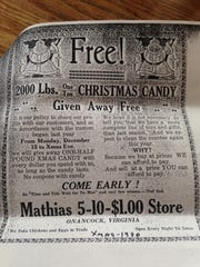 A 1930 newspaper advertisement for Mathias dime store in Onancock, Virginia.