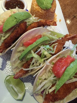 The shrimp tacos at Tequila Azul come on house-made tortillas.