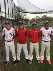 Port Clinton has two sets of twins in the varsity dugout in Mitchell and Ben Mueller and Trevor and Seth Monk, left to right.