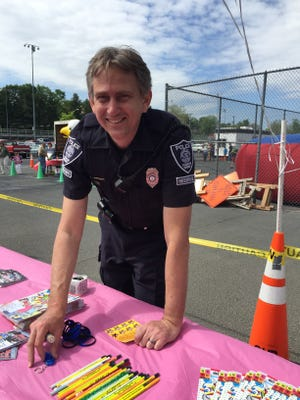 Reserve officer K.S. Plowman with the Staunton Police at Kids Matter Day on Saturday, May 7, 2016.