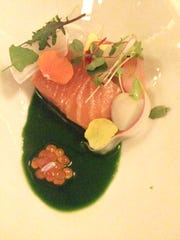Candied smoked salmon with stinging nettles, radishes,
